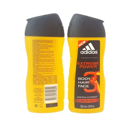 Adidas Shower Gel 250ml men, 3in1 Hair & Body & Face Extreme