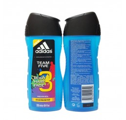 Adidas Shower Gel 250ml men, 3in1 Hair & Body & Face Team Five Menthol